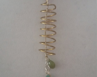 Spring Into Green wire wrapped seaglass and peridot pendant