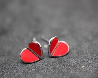 Heart Hearts stud Earrings Sterling silver Filigree