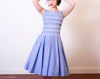 Vintage 1950s Cornflower Blue Sundress / Cotton 50s Dress / TONI TODD Original / Full Skirt / 1950s Blue Dress / XS/S