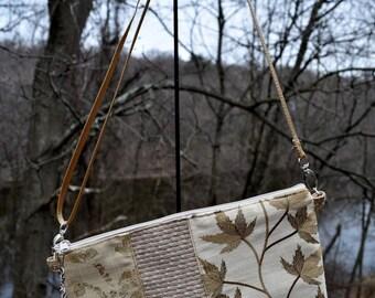 Handmade Fabric Shoulder bag/small/warm golds /glitz/zipper closure/zipper pouch/adjustable cross body strap/deocrator brocades /170354
