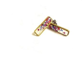 glitter rectangle resin earrings