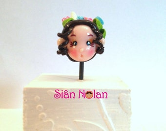 Polymer Clay 'Leilani' doll head bead