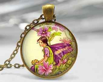 Fairy Pendant, Fairy Necklace, Fairy Jewelry, Fairy Jewellery, Vintage Fairy Art Pendant, Glass Dome Pendant, Faerie, Whimsical Fairy 1235