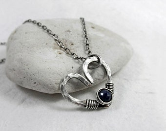 Sapphire Heart Necklace, AAA Sapphire, September Birthstone, Throat Chakra, Dainty Sterling Silver Heart, Hammered Jewelry, Gift for Her