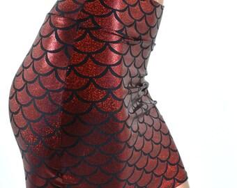 "Blood Red Dragon Scale Hologram Metallic Bodycon Mermaid Mini Skirt 16"" Length -E7523"