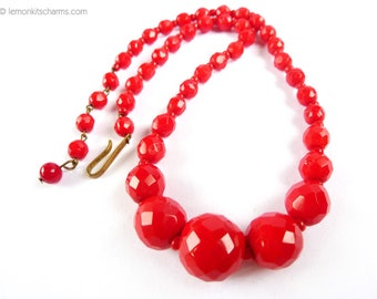 Vintage Red Glass Beaded Choker Necklace, West Germany, Jewelry 1950s Mid-century, Short Style