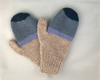 Striped blue and tan mittens