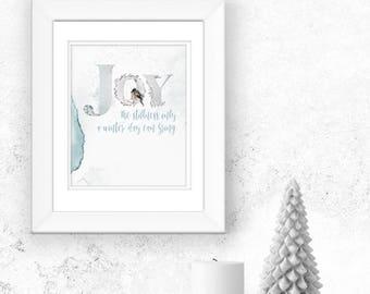 Winter Printable Art Print home decor Joy the stillness only a winter day can bring original quote LemonDropImages