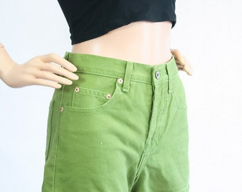 Vintage 90s Guess Jean Shorts / High Waisted Denim Shorts / Apple Green / 1990s Revival Grunge / Summer Festival Shorts / Extra Small