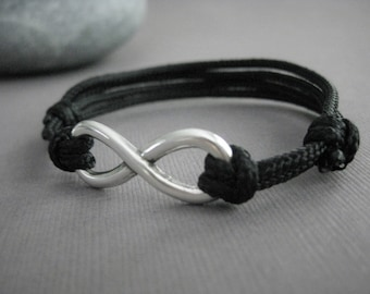 Infinity Bracelet with Adjustable Paraline Cord, Unisex Bracelet, Wedding Day Gift, Anniversary, Birthday Gift