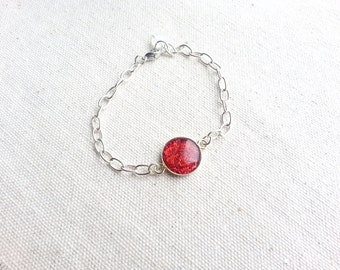 Glitter Bracelet Red Chain Silver Plated Minimalist Resin Jewelry For Her Bridal Gift Delicate Sparkle Stacking Layering