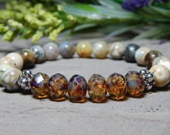 Beaded Stone Bracelet, Gemstone Stretch Bracelet, Womens Gemstone Bracelets, Bead Bracelets for Women, Natural Stone Bracelet, Agate Jewelry