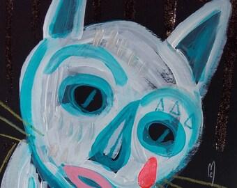 Cat Art Sad Cat Painting Cat Drawing Home Decor Cat Fine Art Cat Wall Art Cute Cat Art