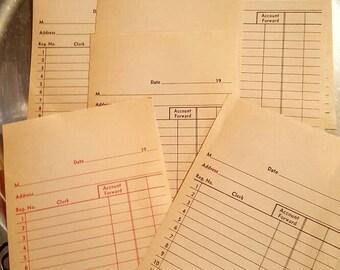 Vintage blank hand written receipts, junk journal, scrapbook, paper ephemera, embellishments, Qty. 7 sets
