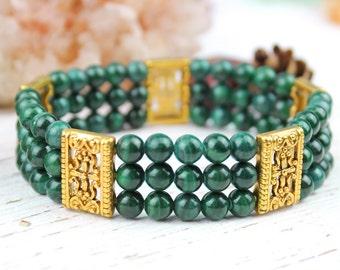 SALE Malachite Stretch Bracelet, Gold Green Gemstone Elastic Bracelet, Multi Strand Gemstone Bracelet, Fancy Luxe Green Gold