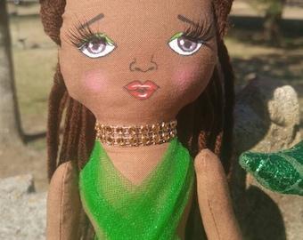 Mermaid Heirloom Cloth Doll African American