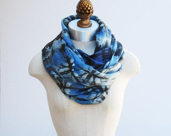 bold pattern blue and black silk scarf, oversized hand printed shawl, 88editions scarves