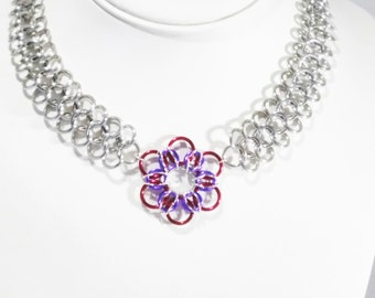 Chainmail Necklace, Silver Necklace, Chainmail Jewelry, Gift For Her, Chain Necklace, Chainmail Choker, Choker, Mothers day, Flower Necklace