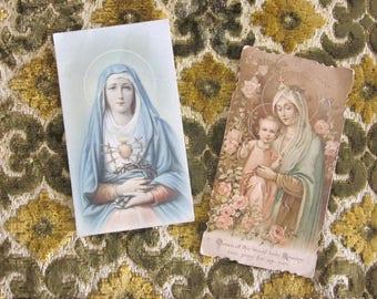 Two ornate Catholic, Religious prayer cards