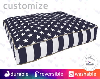 Navy and White Dog Bed with Insert - Design Your Own! | Stars and Stripe, Patriotic, Gray