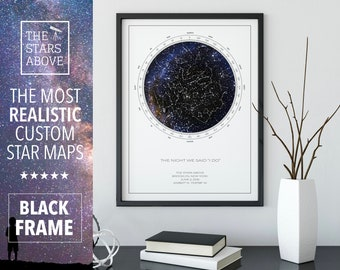 Custom Star Map |  12x16 FRAMED POSTER | REAL Night Sky | Custom Star Poster | Constellation Map | Personalized Gift | Unique Gift
