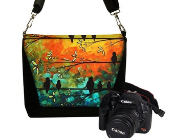 MadArt Digital Slr Camera Bag DSLR Camera Bag Purse Womens Camera Bag Case Zipper Padded  Birds of a Feather  RTS