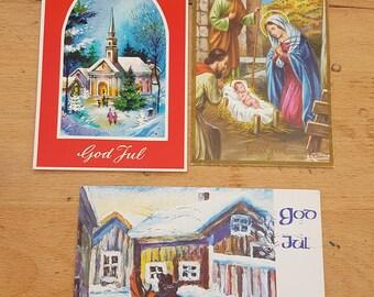 3x Vintage 'God Jul' (Merry Christmas) Norwegian Christmas postcards, 1970s, Festive scenes