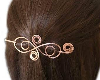 Swirl Hair Barrette, Small Brass Hair Slide, Long Hair Clip, Gold Hair Stick, Brass Hair Pin, Long Hair Accessory, Gift for Women