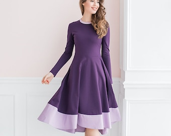Jersey purple dress with cotton bottom, modest midi casual dress