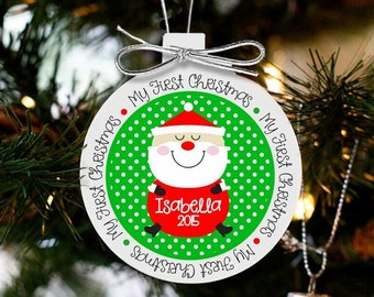 Baby's first Christmas personalized jolly santa ornament FCSO