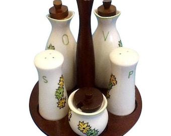 Salt Pepper Oil Vinegar Set. Atomic Style. Olive Oil and Vinegar Cruet