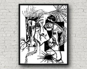 Old Family, Printable Wall Art, Drawing Printable Wall Art, Black and White, Wall Print, Home Wall Art, Prints Wall Art, Drawing Prints,