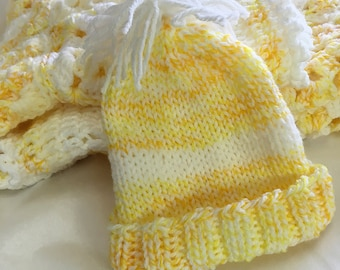 Yellow Newborn Baby Hat- Yellow Tweed and White- Hand Knitted Baby Beanie- Boy or Girl- Matching Blanket Available- Made To Order