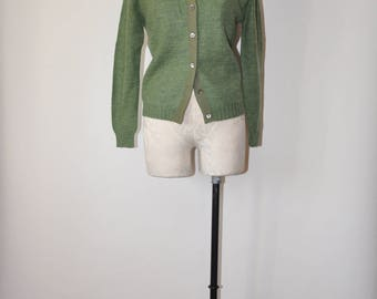 50s sage wool cardigan / 1950s green cardigan / vintage button front sweater