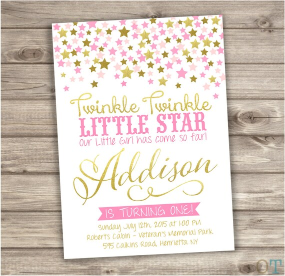 Twinkle twinkle little star confetti birthday invitations pink filmwisefo