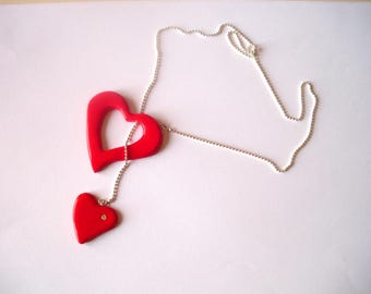 Red Heart Necklace with fimo paste