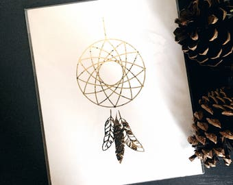 Geo Dream Catchers Distressed Gold Foil Print // 8x10 Weather Gold Bohemian Print