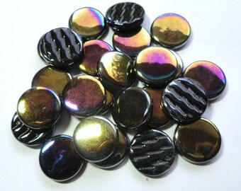 20mm  Black Iridescent FLAT Round Recycled Glass Mosaic Tiles//Mosaic//Mosaic Supplies//Crafts