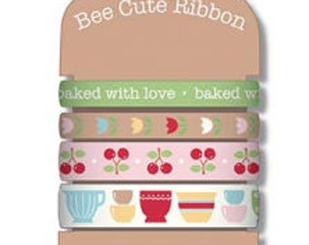 Bee Cute Ribbon for Bake Sale 2 by Lori Holt for Riley Blake - STRD-8532 - 2 yards of 4 styles - 8 yards total