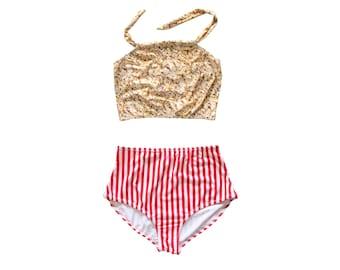 Cute Bikini Red Stripes Popcorn Swimsuit High Waist Bottom and Halter Top Novelty Swimwear Fun Women's Costumes