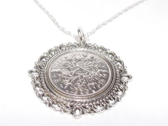 Fine Pendant 1925 Lucky sixpence 93rd Birthday gift, 1925 birthday gift Birthday plus a Sterling Silver 18in Chain