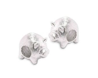 925 sterling silver bead big hole pig PS0598M P0114