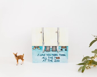 Funny Greeting Cards, FlossyPArt, Designed and Made in Australia, Poo Joke, Great for Childrens Birthdays, I love you card, Animal Lovers