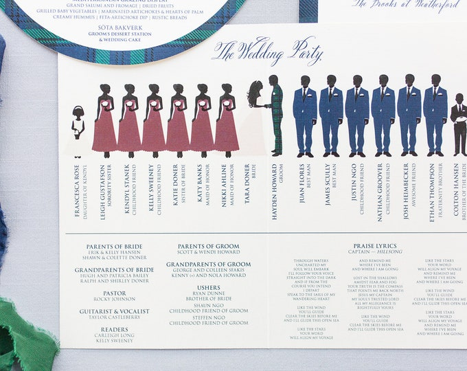 5.5x8.5 Bi-Fold Folding Wedding Program with Illustrated Wedding Party — Customizable with Your Colors!