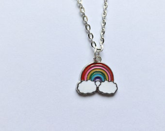 Rainbow Necklace, Over the Rainbow Necklace, Rainbow Gift, Rainbow Jewellery, Silver Necklace, Gift for Him, Gift for Her, Birthday Gift