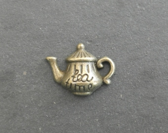 Charm bronze inscription teapot Tea Time