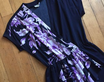 vintage 1970s dress // 70s blue and purple floral dress