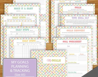 Resolutions Goal Planning / Tracking Printable -  Pastel - 11 Pages incl.cover - A5 Size - Printable Digital Files -Goal Worksheets