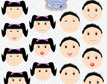 Faces emotions clipart, kids feelings, clipart emotions, boy, girl, happy, sad, surprise, angry, sad boy