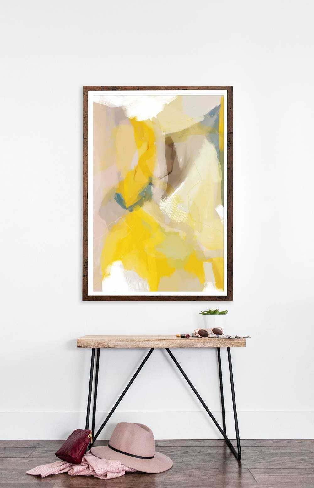 Anne abstract art print Canvas art yellow abstract
